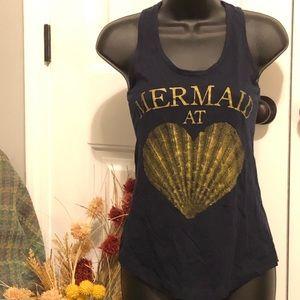 "Racerback tank top ""Mermaid @ Heart"" w/ sea shell"